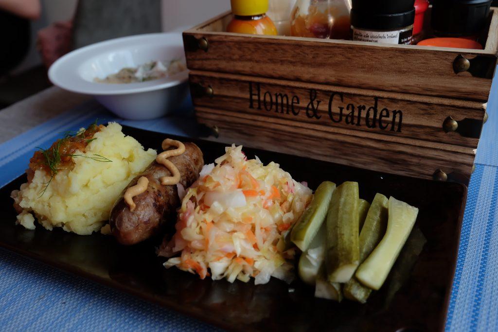 Ukrainian Sausage with potato mash and pickles