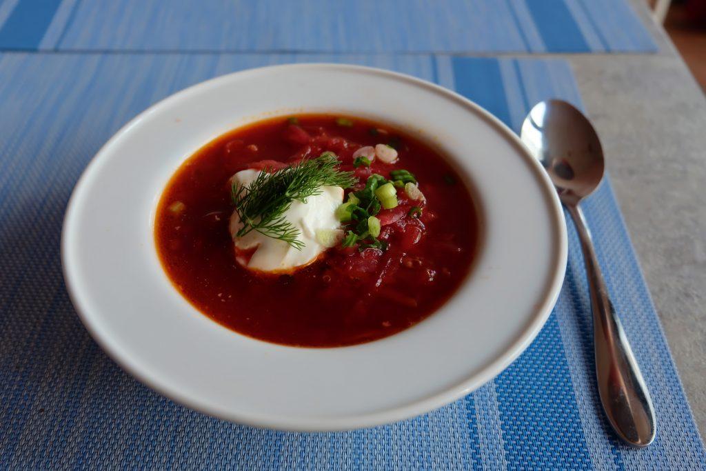 Borscht soup at The Moon Under Water Bangkok